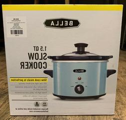 New in Box BELLA 1.5QT SLOW COOKER Crock Pot AQUA Blue multi
