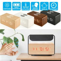 NEW Modern Wooden Wood Digital LED Alarm Clock Thermometer Q