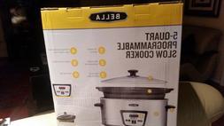 New Bella Programmable Slow Cooker Crock Pot 5 QT Polished S