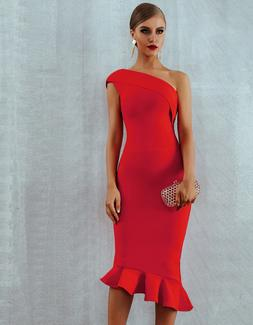 NEW! RED ONE SHOULDER RUFFLE COUTURE BANDAGE DRESS NUDE BODY