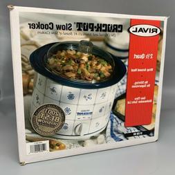 NEW Rival 2.5 QT Crock Pot model 3120 Stoneware white Blue V