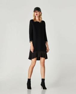 Zara Ribbed Dress With Cuff Detail Black 9776/052 Size M NWT