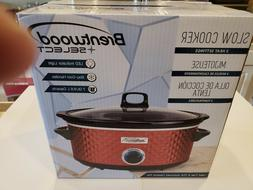 Brentwood SC-157R Diamond Pattern 7 Quart Red Slow Cooker Br