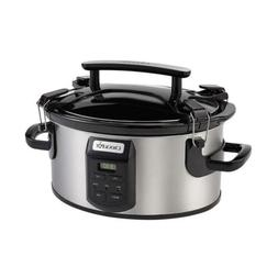Single Hand 6 Qt. Black Stainless Slow Cooker With Glass Lid