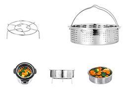 Stainless Steel Steamer Basket w/ Steam Rack Trivet Instant