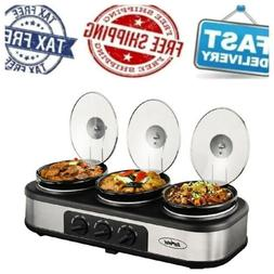 Triple Slow Cooker Buffet Server, 3 Pot Crock Pot Food Warme