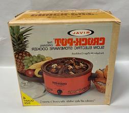 Vtg Rival Model 3104 Crock Pot Stoneware Slow Cooker 4 Quart